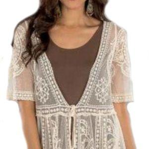 Beautiful Lace Mesh Long Jacket L/XL (1190)